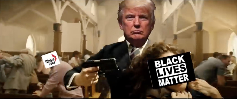 En el video falso, Trump dispara con un arma a el medios de comunicación Black Lives Matter.