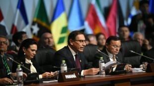 Le président péruvien Martin Vizcarra lors d'une session plénière du Sommet des Amériques, samedi 14 avril 2018.