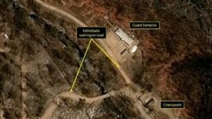 """صورة التقطت بالأقمار الاصطناعية في 12 نيسان/أبريل 2017 لموقع """"بونغيي ري"""" الكوري الشمالي للتجارب النووية."""