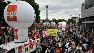 مظاهرة جديدة ضد قانون العمل بين ساحة الباستي وساحة إيطاليا بباريس 28 يونيو 2016