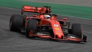L'Allemand Sebastian Vettel dernier sur la grille de départ lors des qualifications du GP de F1 d'Allemagne le 27 juillet 2019