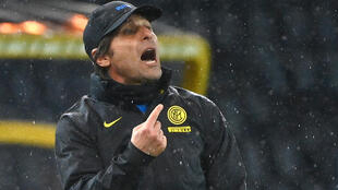 Inter Milan coach Antonio Conte was sent off for clashing with the referee in Udine.