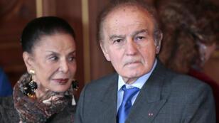 Samuel Pisar et son épouse Judith, le 2 octobre 2012, à l'Hôtel de ville de Paris.
