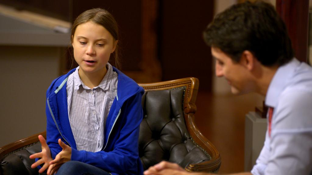 Justin Trudeau recibió a la joven activista sueca Greta Thunberg antes de marchar por las calles de Montreal.