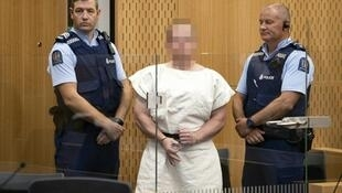 File photo taken on March 16, 2019, of Brenton Tarrant, the man charged in the Christchurch attack, at the Christchurch District Court.