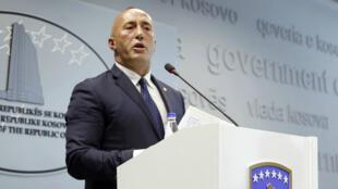 El primer ministro de Kosovo, Ramush Haradinaj, anunció su dimisión en una rueda de prensa en Pristina este 19 de julio de 2019.