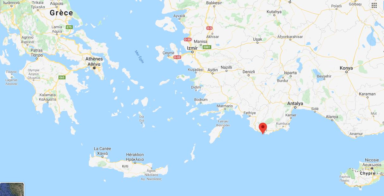 Le point rouge désigne la localisation de l'île grecque de Kastellorizo sur la carte