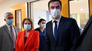 French Health Minister Olivier Véran and French Junior Minister of Autonomy Brigitte Bourguignon visit the coronavirus disease (Covid-19) emergency and intensive care units of the Hospital Centre in Dunkirk, February 24, 2021.
