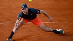 Le joueur de tennis autrichien Dominic Thiem lors de sa rencontre face au Bulgare Grigor Dimitrov lors de l'Adria Tour, à Belgrade le 14 juin 2020.