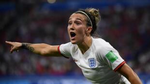 La star de l'équipe anglaise, Lucy Bronze, pendant le match face aux États-Unis, le 2juillet2019 à Lyon.