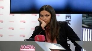 Rain TV head Natalya Sindeyeva during a press conference in Moscow on February 4, 2014