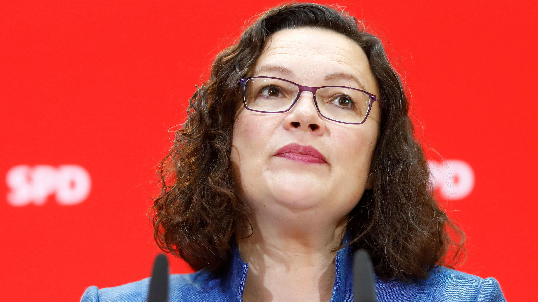 La líder del Partido Socialdemócrata (SPD), Andrea Nahles, asiste a una conferencia de prensa después de las elecciones estatales de Baviera, en Berlín, Alemania, el 15 de octubre de 2018.