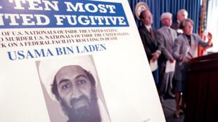 Le portrait d'Oussama Ben Laden sur une affiche du département de la Justice américain, en 1999, à New York.
