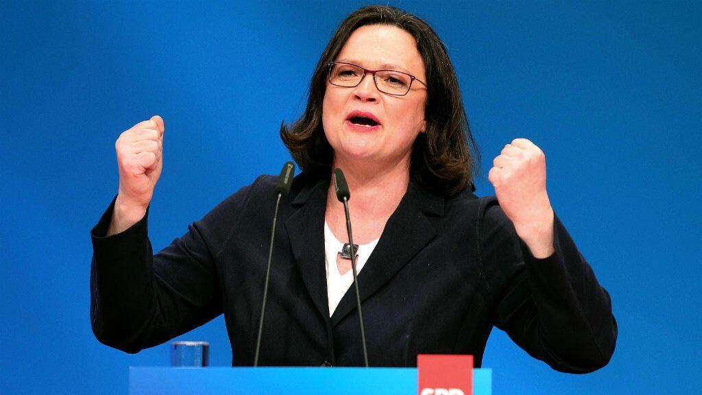 Andrea Nahles lors du congrès extraordinaire du SPD à Wiesbaden qui l'a vue prendre la tête du parti, le 22 avril 2018.