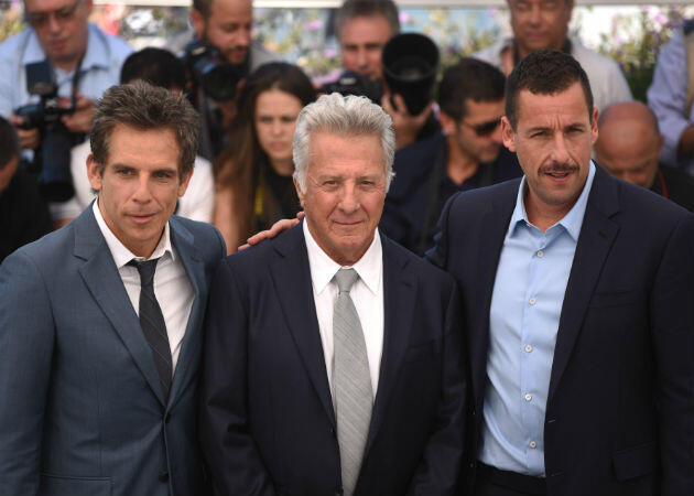 "From left to right: Ben Stiller, Dustin Hoffman and Adam Sandler at the photocall for Noah Baumbach's ""The Meyerowitz Stories""."