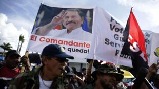 Simpatizantes del Frente Sandinista de Liberación Nacional (FSLN) se manifiestan en defensa del presidente Daniel Ortega en las calles de Managua, en medio de la crisis política y social que ha dejado cientos de fallecidos. Managua, Nicaragua. 1 de septiembre 2018.