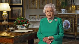 Britain's Queen Elizabeth II records her address to the UK and the Commonwealth on the coronavirus epidemic at Windsor Castle, west of London, on April 5, 2020.