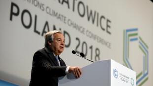 El secretario general de la ONU, António Guterres, durante el discurso inaugural de la COP24 en Katowice, Polonia, el 3 de diciembre de 2018.