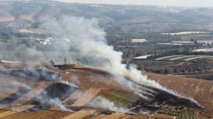 قرية مارون الراس اللبنانية الحدودية تتعرض لقصف إسرائيلي. 1 سبتمبر/أيلول 2019.