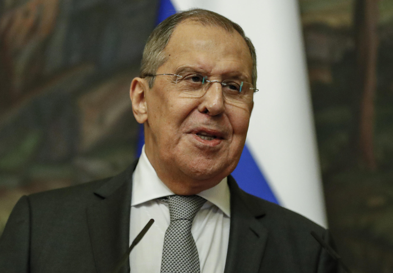 وزير الخارجية الروسي سيرغي لافروف خلال مؤتمر صحافي في موسكو في 24 حزيران/يونيو 2021