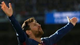 ميسي يحتفل بتسجيله الهدف الثاني ضد ريال مدريد في 23 كانون الأول/ديسمبر 2017