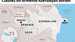 Map of Azerbaijan and  Armenia locating the Armenian province of Tavush where border clashes occurred