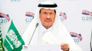 Saudi Arabia's Minister of Energy Prince Abdulaziz bin Salman Al-Saud speaks during a virtual emergency meeting of G20 energy ministers on oil supply cuts to stabilise global markets hit by the Covid-19 pandemic in Riyadh, Saudi Arabia on April 10, 2020.