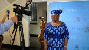 La nigeriana Ngozi Okonjo-Iweala, el 15 de julio de 2020 durante una entrevista en Ginebra, Suiza