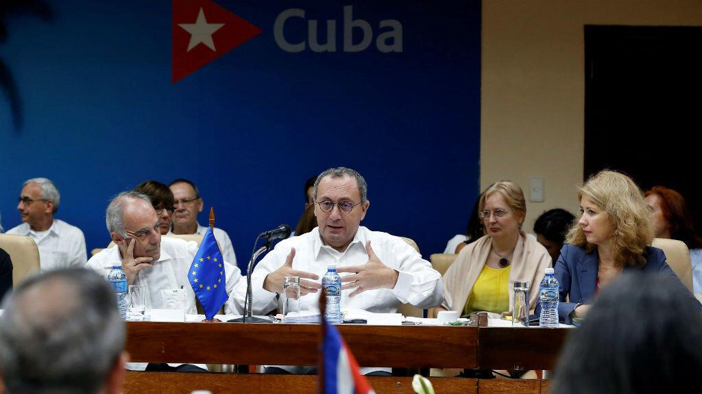 El director general de Cooperación Internacional y Desarrollo de la Comisión Europea, Stefano Manservisi, durante el primer diálogo sobre desarrollo sostenible Cuba-Unión Europea celebrado en La Habana el 16 de abril de 2019.