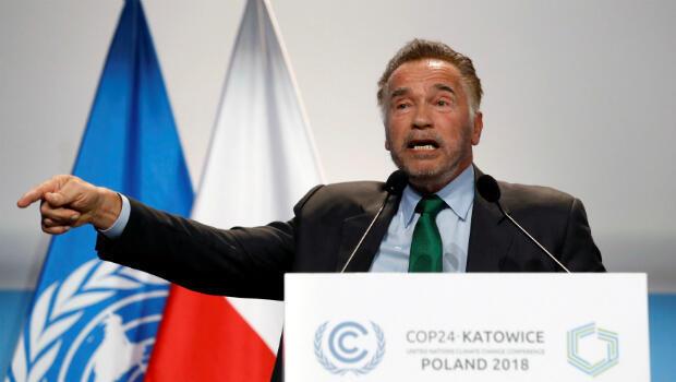 """El actor y exgobernador de California Arnold Schwarzenegger intervino en la Cumbre. """"Si miran un poco más allá de Washington, verán que son los estados y ciudades, sus gobiernos locales son los que controlan el 70% de nuestras emisiones"""", afirmó Schwarzenegger."""