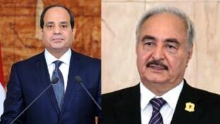 صورة مركبة للرئيس المصري عبد الفتاح السيسي والمشير خليفة حفتر.