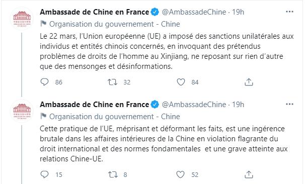 """Tweets condamnant les sanctions occidentales contre la Chine, qualifiant les rapports de violations des droits de l'homme contre les Ouïghours au Xinjiang. """"mensonges et désinformation""""."""