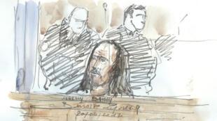 Jeremy Bailly, l'un des accusés dans le procès de la filière jihadiste Cannes-Torcy, se défend devant la cour d'assises spéciale de Paris, le 20 avril 2017.