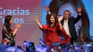 Alberto Fernandez et sa colistière, Cristina Kirchner, le 27octobre2019 à Buenos Aires.