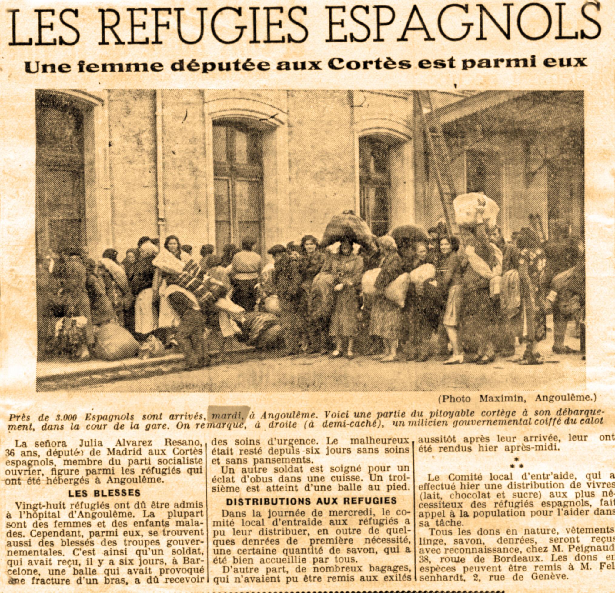 """Un article daté du 2 février 1939 du journal """"La petite gironde"""" relatant l'arrivée des réfugiés espagnols à Angoulême."""