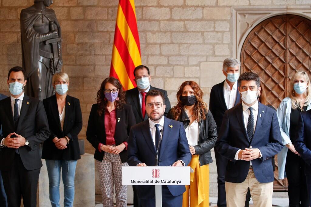 El presidente regional de Cataluña, Pere Aragones, durante una conferencia de prensa en el Palau de la Generalitat, tras la detención del exjefe del Gobierno catalán Carles Puigdemont en Cerdeña. Barcelona, España. 24 de septiembre de 2021.