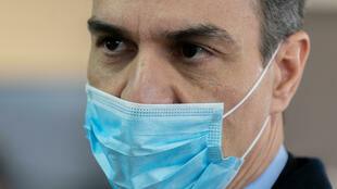 Spanish Prime Minister Pedro Sanchez on a visit to a ventilator factory in Mostoles, near Madrid, April 3, 2020.