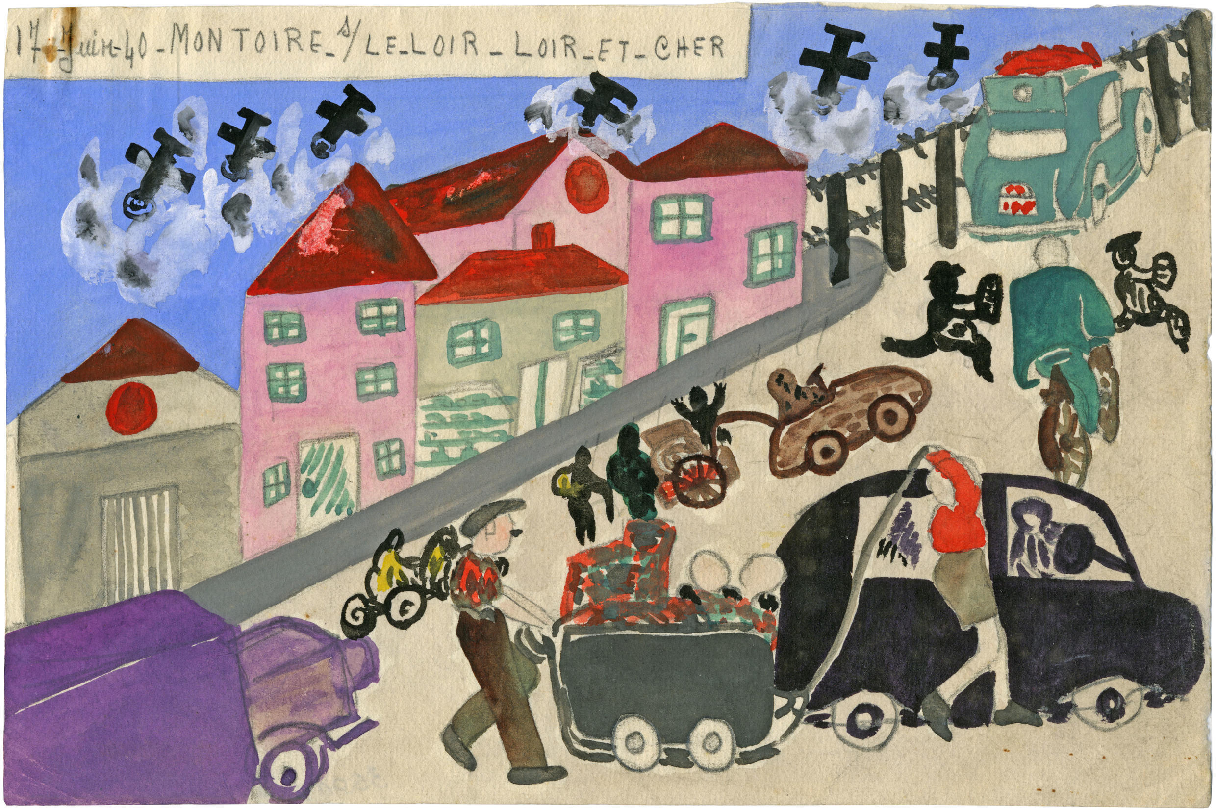 A drawing by a schoolgirl, Christiane Crosnier, shows refugees in Montoire sur le Loir, moving south  on 17 June 1940.