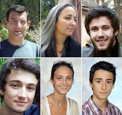 Clockwise from top left: Xavier Dupont de Ligonnes, his wife Agnes and their children Thomas (18), Benoit (13), Anne (16) and Arthur (20).