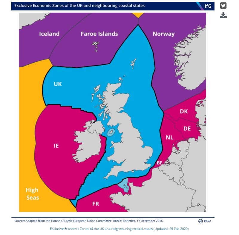 Zonas económicas exclusivas del Reino Unido y de los Estados costeros vecinos