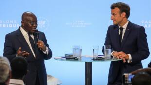 Le président ghanéen Nana Akufo-Addo et le président français Emmanuel Macron lors de la rencontre avec la diaspora africaine, le 11 juillet à l'Élysée.