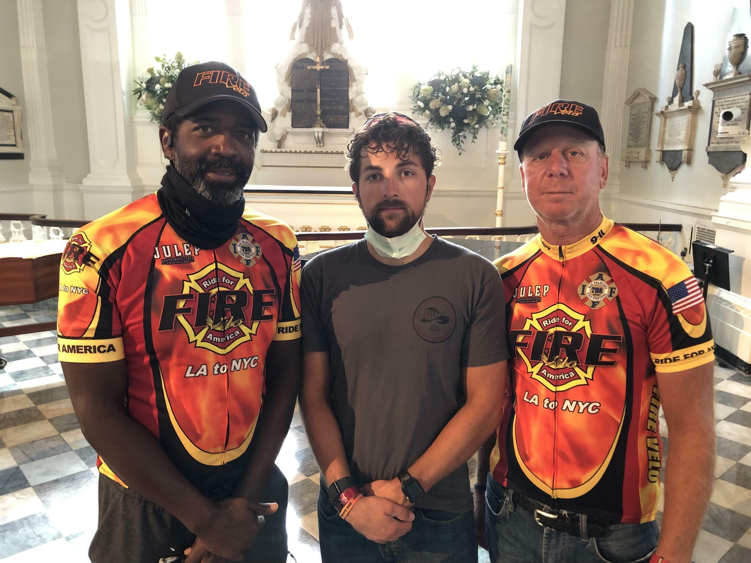 Left to right: Glenn Smith, Jamie Monroe and Joel White of Fire Velo. The group cycled from California to New York to raise money for to raise money for fellow firefighters' health care.
