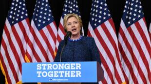Hillary Clinton lors d'un discours prononcé le 28 octobre 2016, à Des Moines, dans l'Iowa.