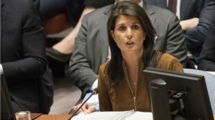 L'ambassadrice américaine à l'ONU Nikki Haley, le 9 avril 2018.
