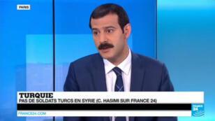 Cemalettin Hasimi, conseiller spécial auprès du Premier ministre turc, sur le plateau de France 24.
