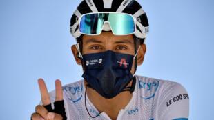Le Colombien Egan Bernal, vainqueur du Tour de France 2019, le 9 septembre 2020 au départ de la 11e étape du Tour entre Chatelaillon-Plage et Poitiers