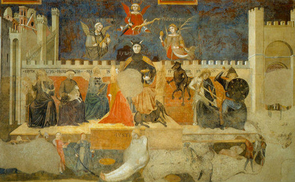 A segment from Ambrogio Lorenzetti's Allegory of Good and Bad Government, located in Siena's 14th century town hall.