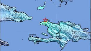 Foto distribuida por el Servicio Geológico de los Estados Unidos (USGS) muestra la ubicación de un terremoto de magnitud 5,9 en Haití, el 7 de octubre de 2018.