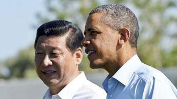 Les présidents américain et chinois lors d'une rencontre en Californie