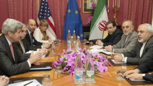 Négociations entre l'Iran et les grandes puissances à Lausanne, le 20 mars 2015.